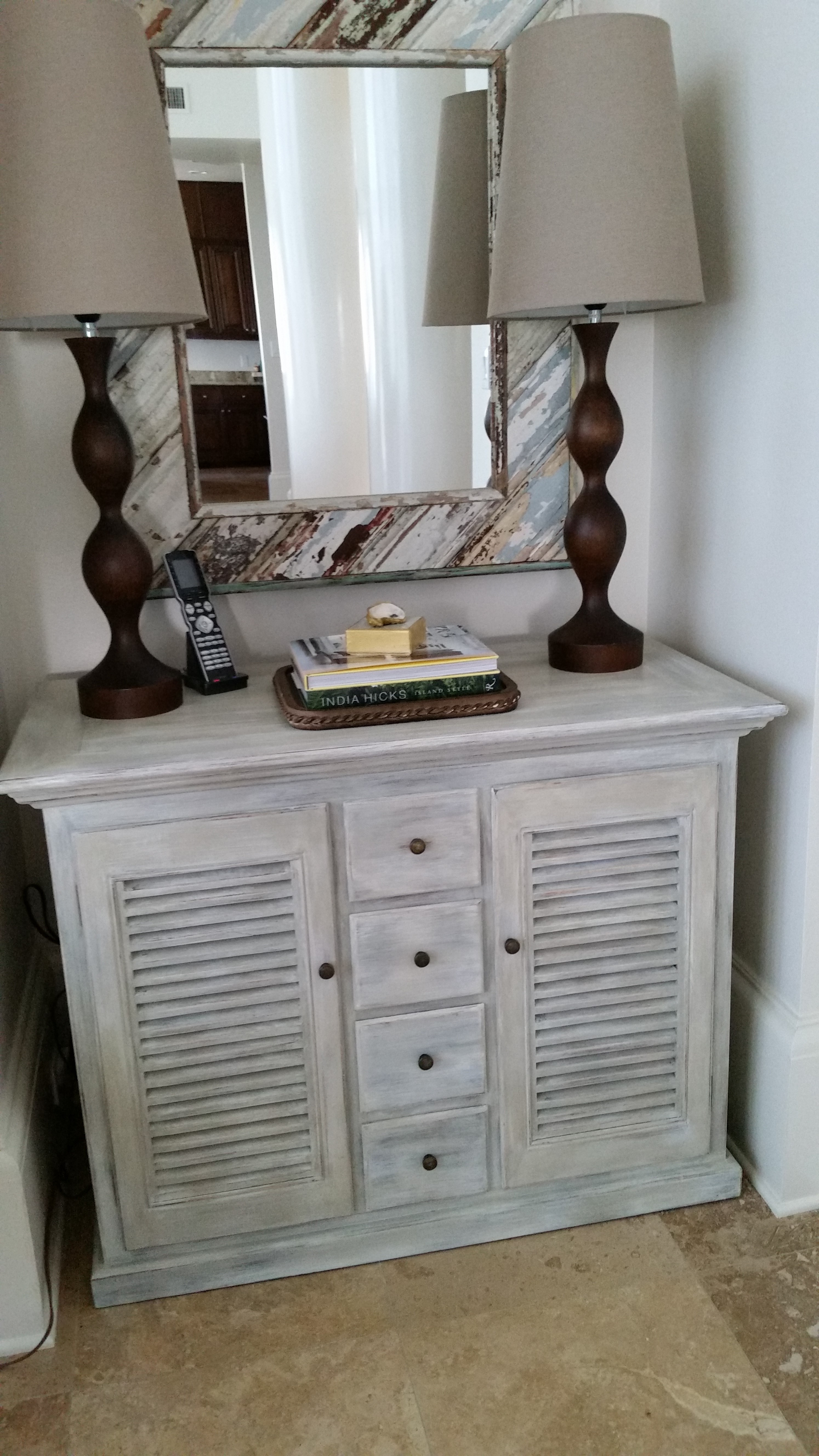 This Is A Well Built Cabinet That Was Just Too Dark For Beach House We Refinished It In White With Light Glaze And Slight Distressing